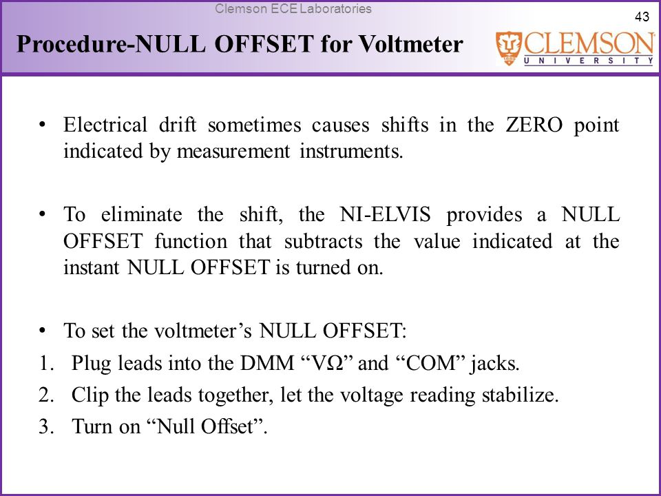 Procedure-NULL OFFSET for Voltmeter