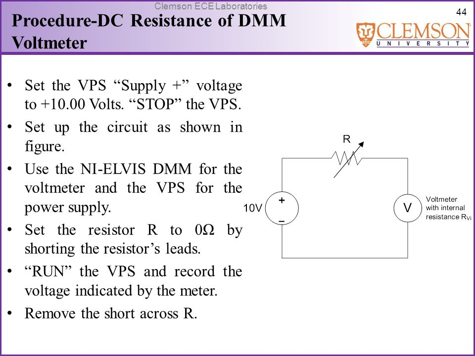 Procedure-DC Resistance of DMM Voltmeter