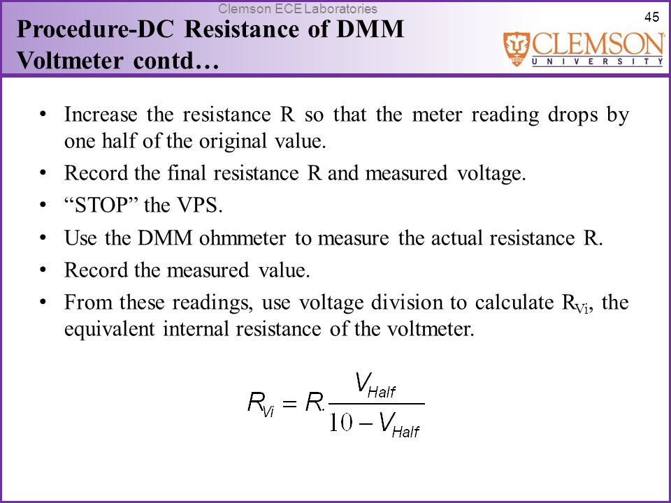 Procedure-DC Resistance of DMM Voltmeter contd…