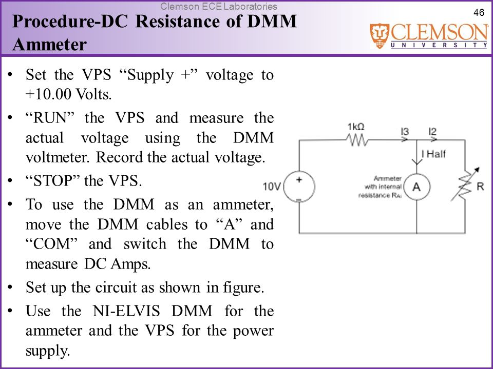 Procedure-DC Resistance of DMM Ammeter
