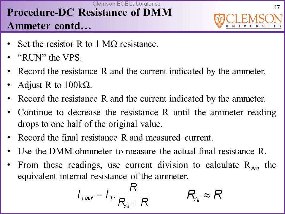Procedure-DC Resistance of DMM Ammeter contd…