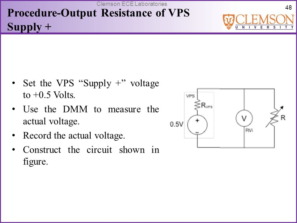Procedure-Output Resistance of VPS Supply +