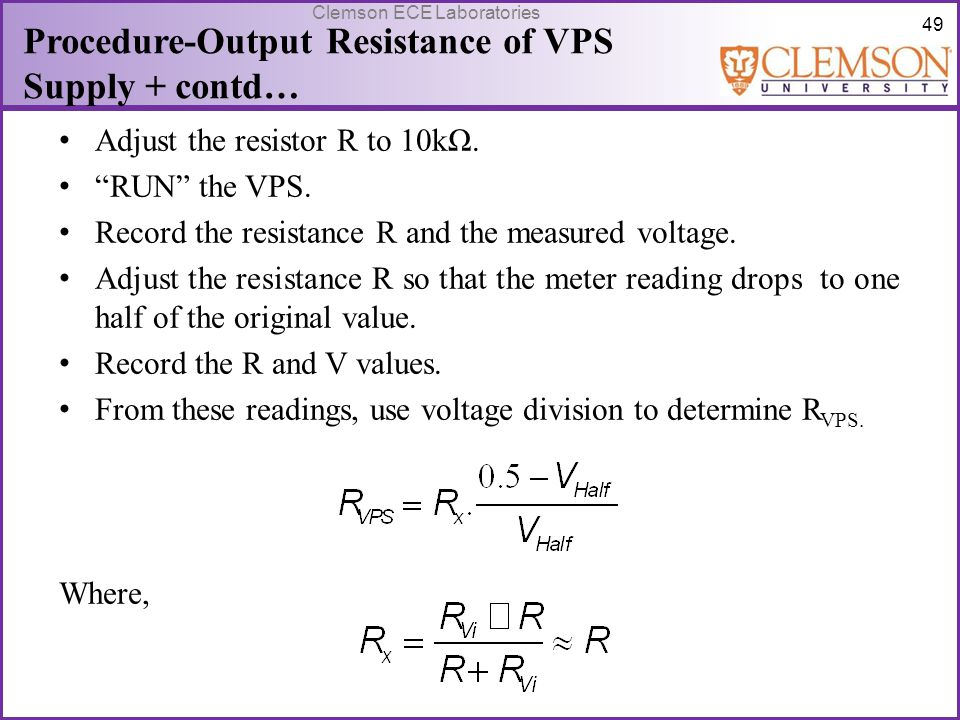 Procedure-Output Resistance of VPS Supply + contd…