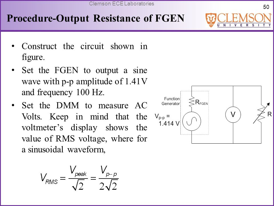 Procedure-Output Resistance of FGEN