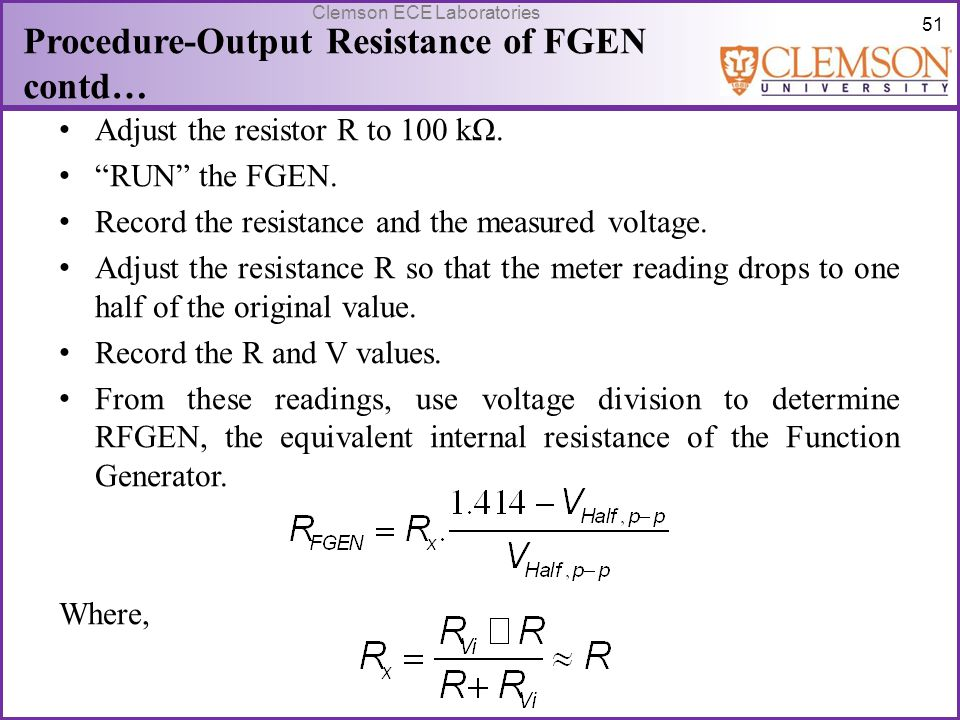 Procedure-Output Resistance of FGEN contd…
