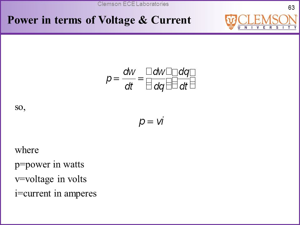 Power in terms of Voltage & Current