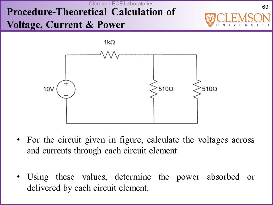 Procedure-Theoretical Calculation of Voltage, Current & Power