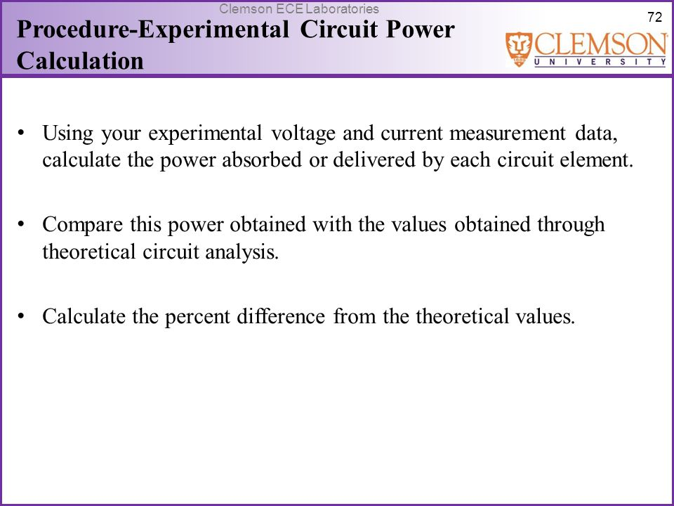 Procedure-Experimental Circuit Power Calculation