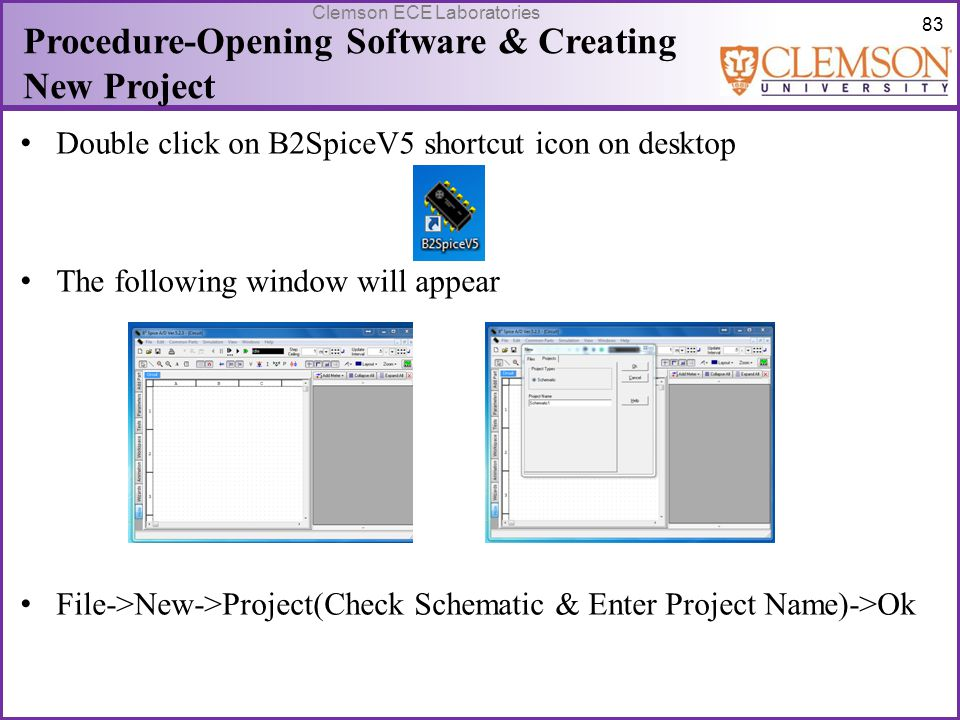Procedure-Opening Software & Creating New Project