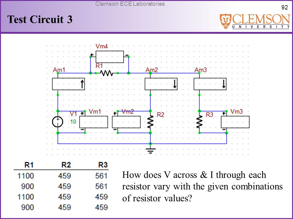 Test Circuit 3 How does V across & I through each