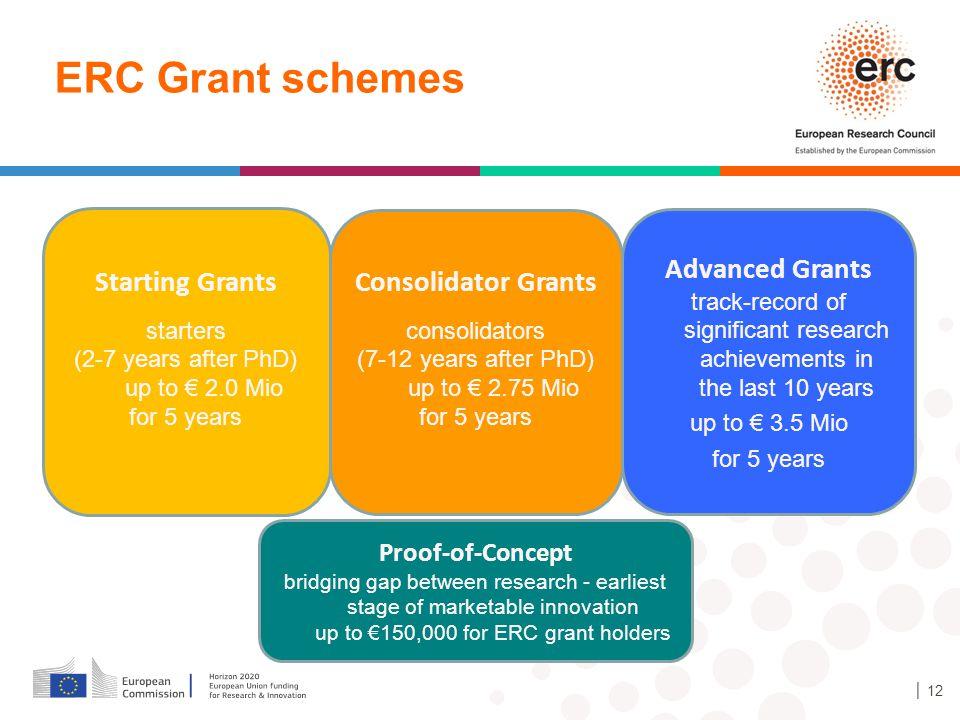 ERC Grant schemes Advanced Grants Starting Grants Consolidator Grants