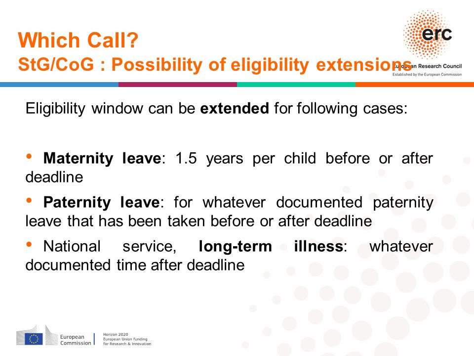 Which Call StG/CoG : Possibility of eligibility extensions