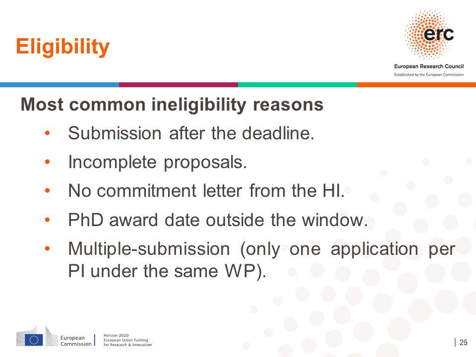 Eligibility Most common ineligibility reasons