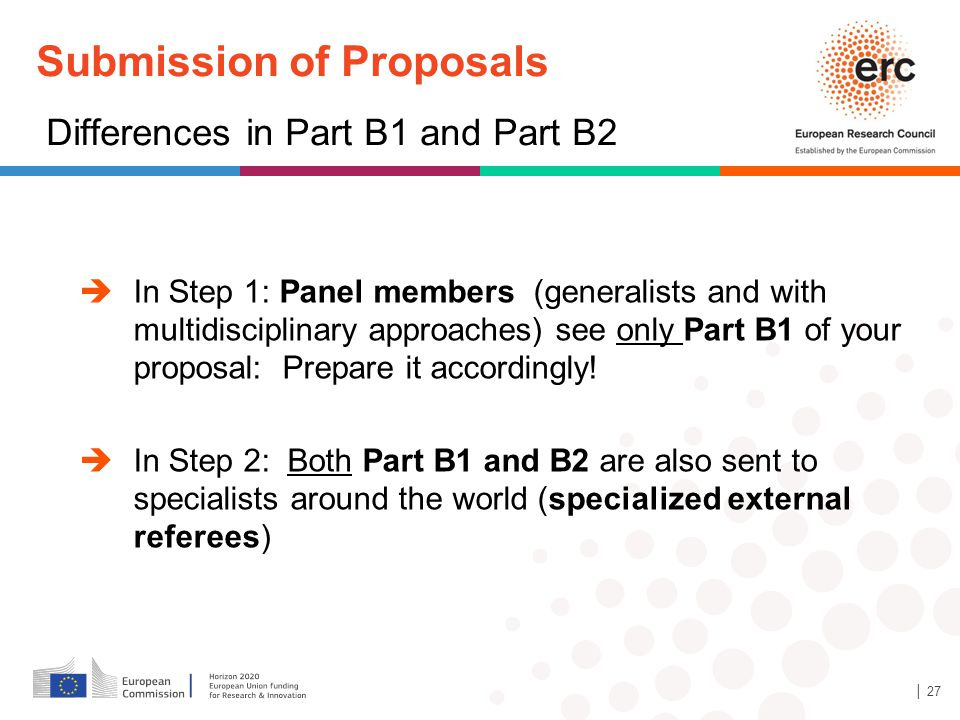 Submission of Proposals Differences in Part B1 and Part B2