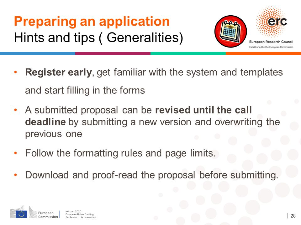 Preparing an application Hints and tips ( Generalities)