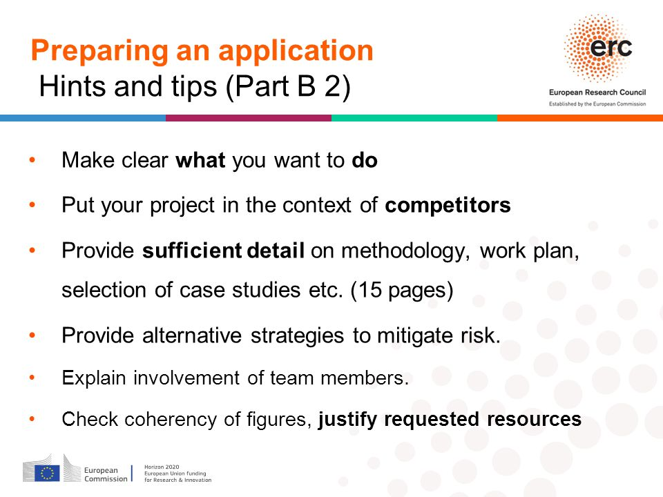 Preparing an application Hints and tips (Part B 2)