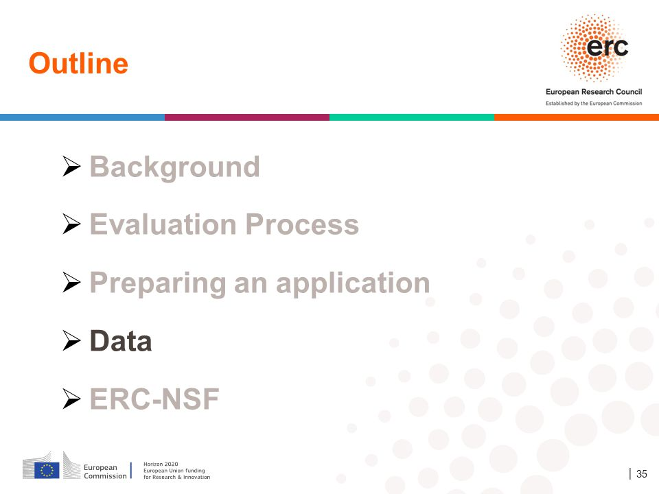 Outline Background Evaluation Process Preparing an application Data ERC-NSF