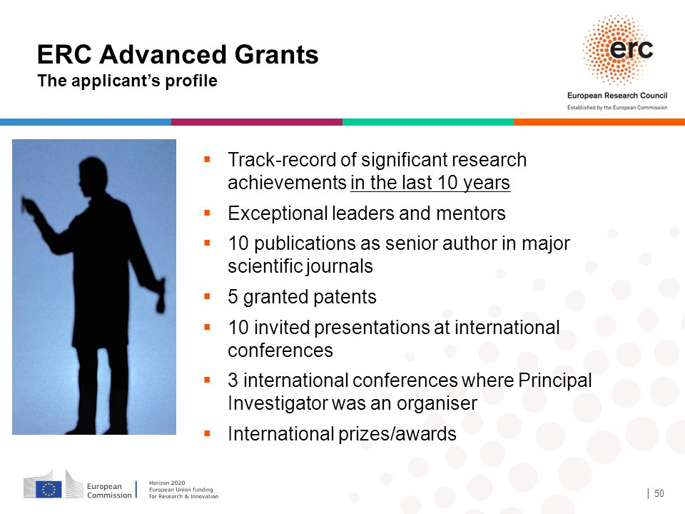 10/08/12 10/08/12. ERC Advanced Grants. The applicant's profile. Track-record of significant research achievements in the last 10 years.
