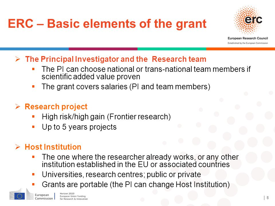 ERC – Basic elements of the grant