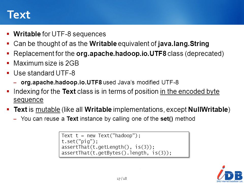 Text Writable for UTF-8 sequences