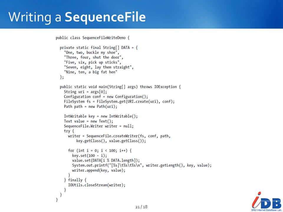 Writing a SequenceFile