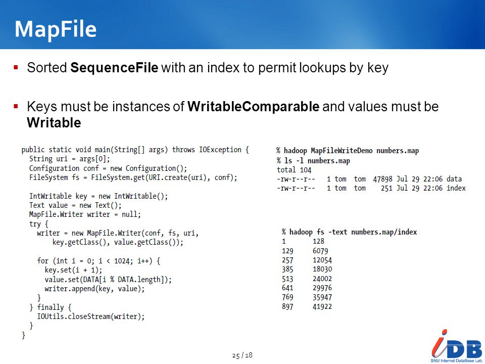 MapFile Sorted SequenceFile with an index to permit lookups by key