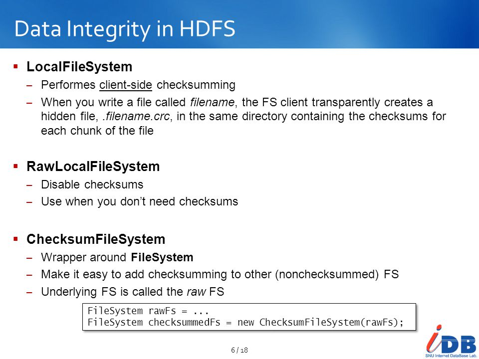 Data Integrity in HDFS LocalFileSystem RawLocalFileSystem