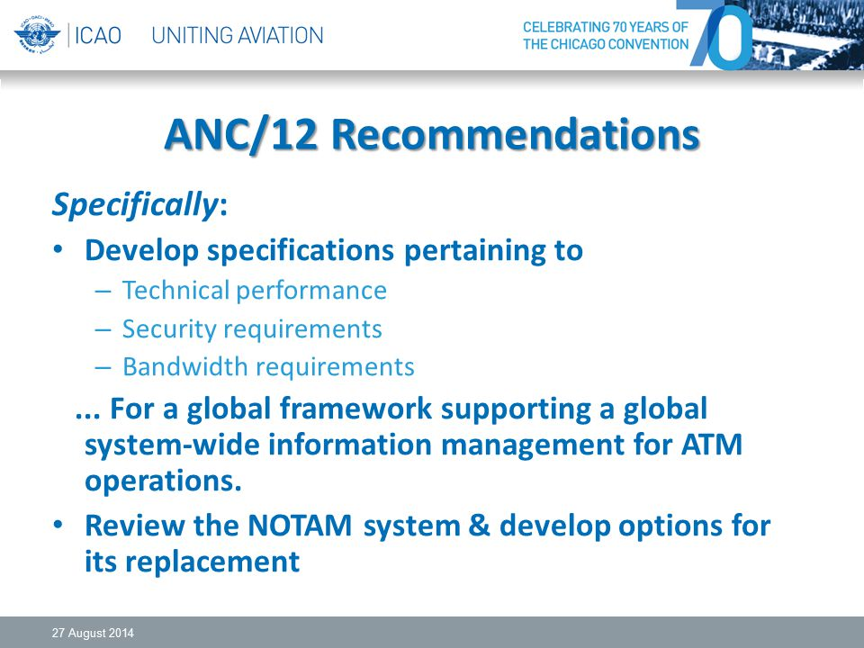 ANC/12 Recommendations Specifically: