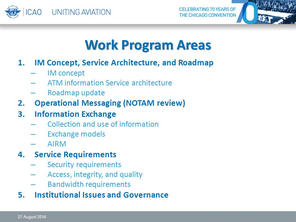 Work Program Areas IM Concept, Service Architecture, and Roadmap