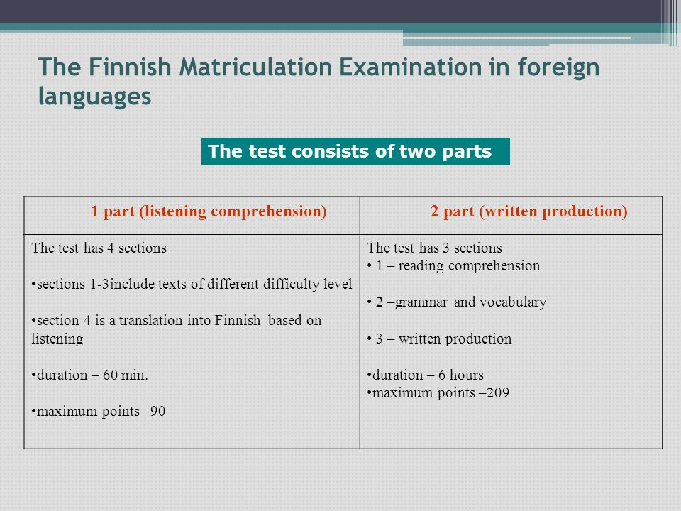 The Finnish Matriculation Examination in foreign languages