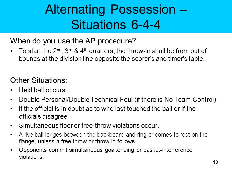 Alternating Possession – Situations 6-4-4