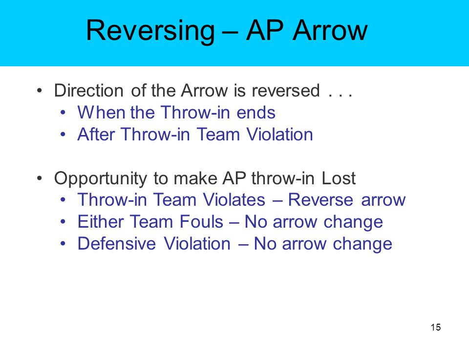 Reversing – AP Arrow Direction of the Arrow is reversed . . .
