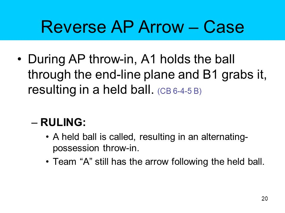 Reverse AP Arrow – Case During AP throw-in, A1 holds the ball through the end-line plane and B1 grabs it, resulting in a held ball. (CB 6-4-5 B)