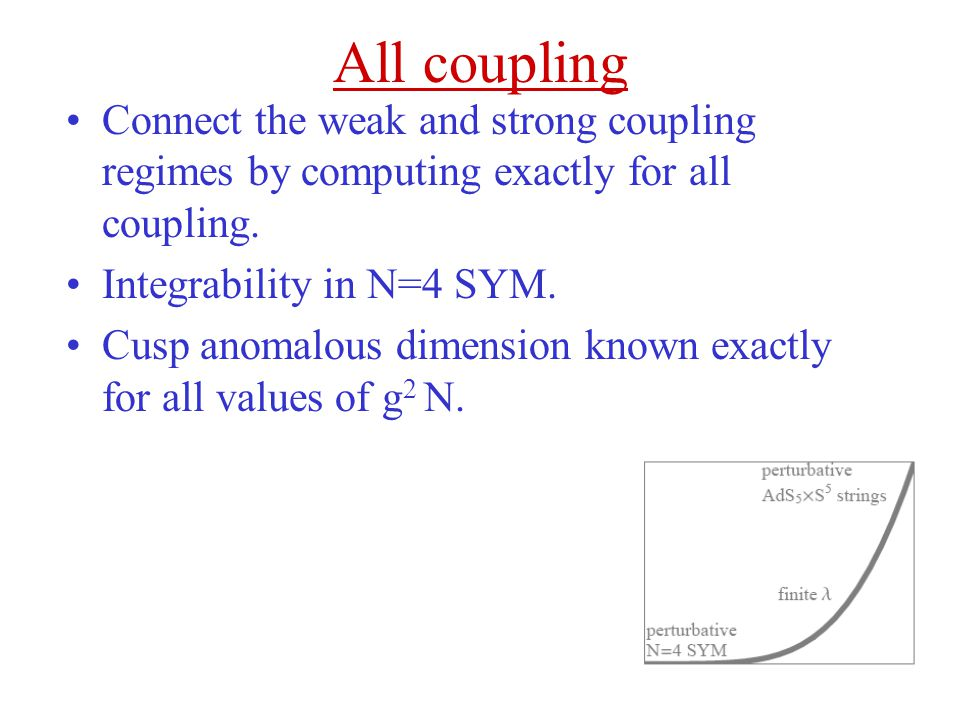 All coupling Connect the weak and strong coupling regimes by computing exactly for all coupling. Integrability in N=4 SYM.