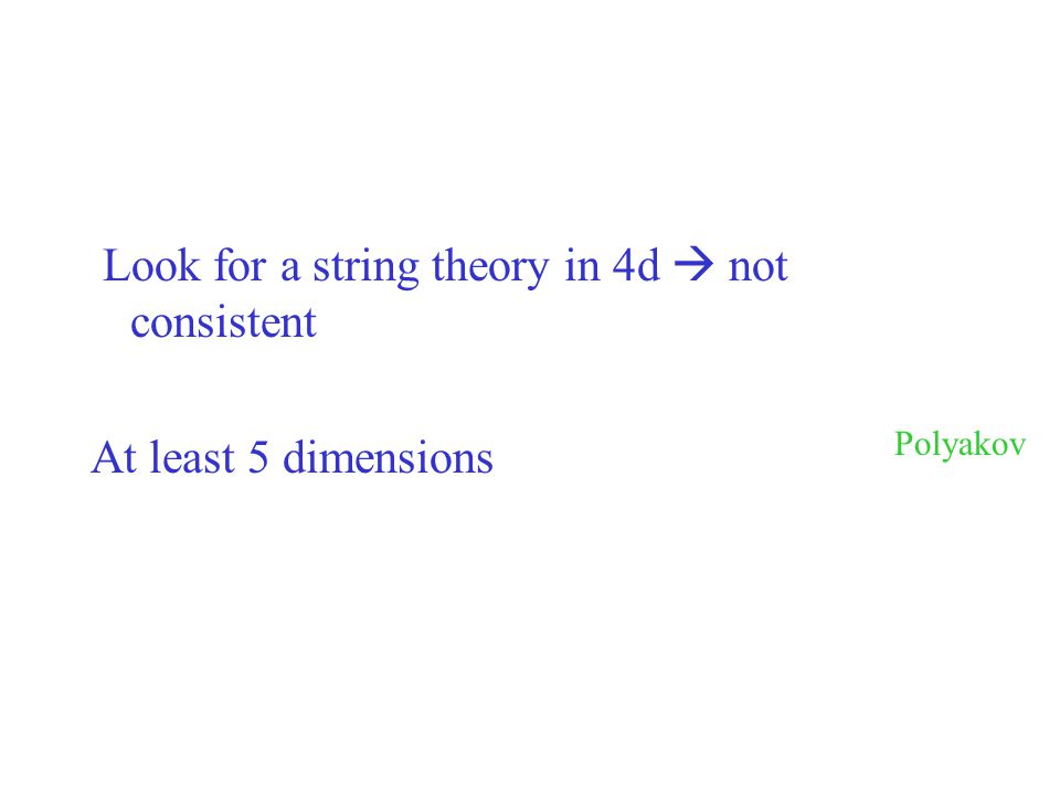 Look for a string theory in 4d  not consistent
