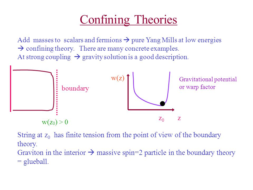 Confining Theories Add masses to scalars and fermions  pure Yang Mills at low energies  confining theory. There are many concrete examples.