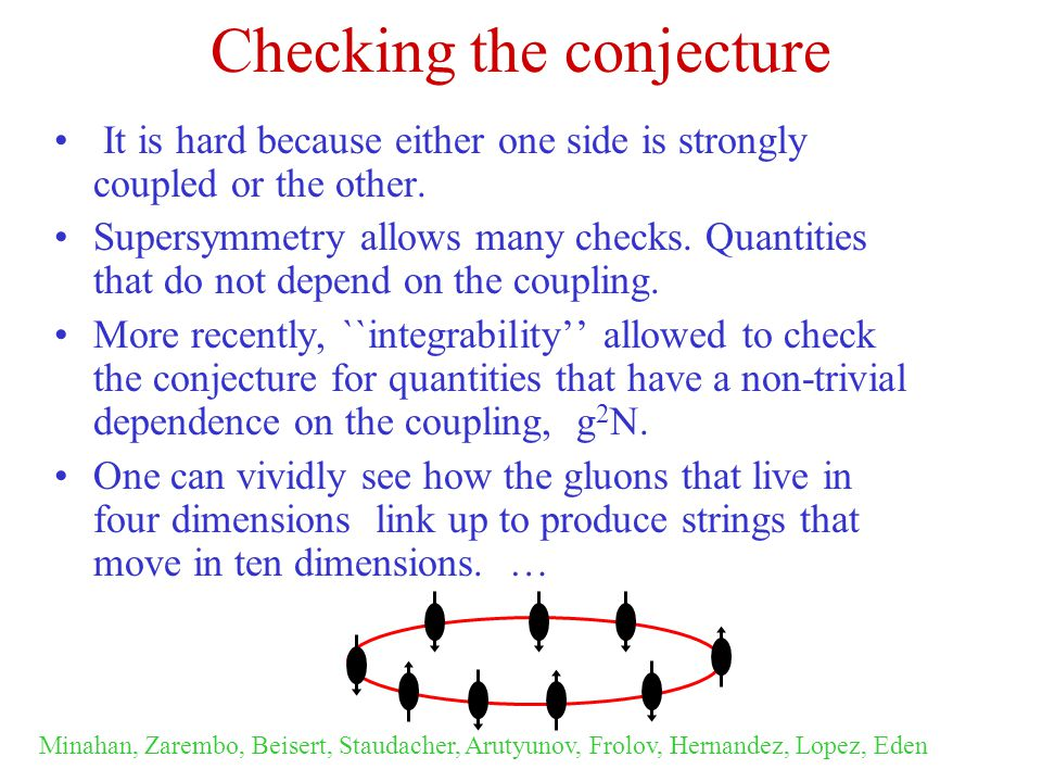 Checking the conjecture