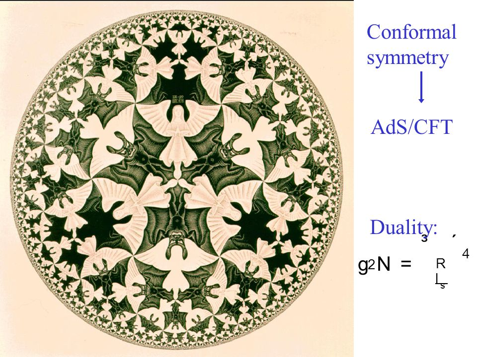 Conformal symmetry AdS/CFT Duality: g 2 N = ³ R l s ´ 4