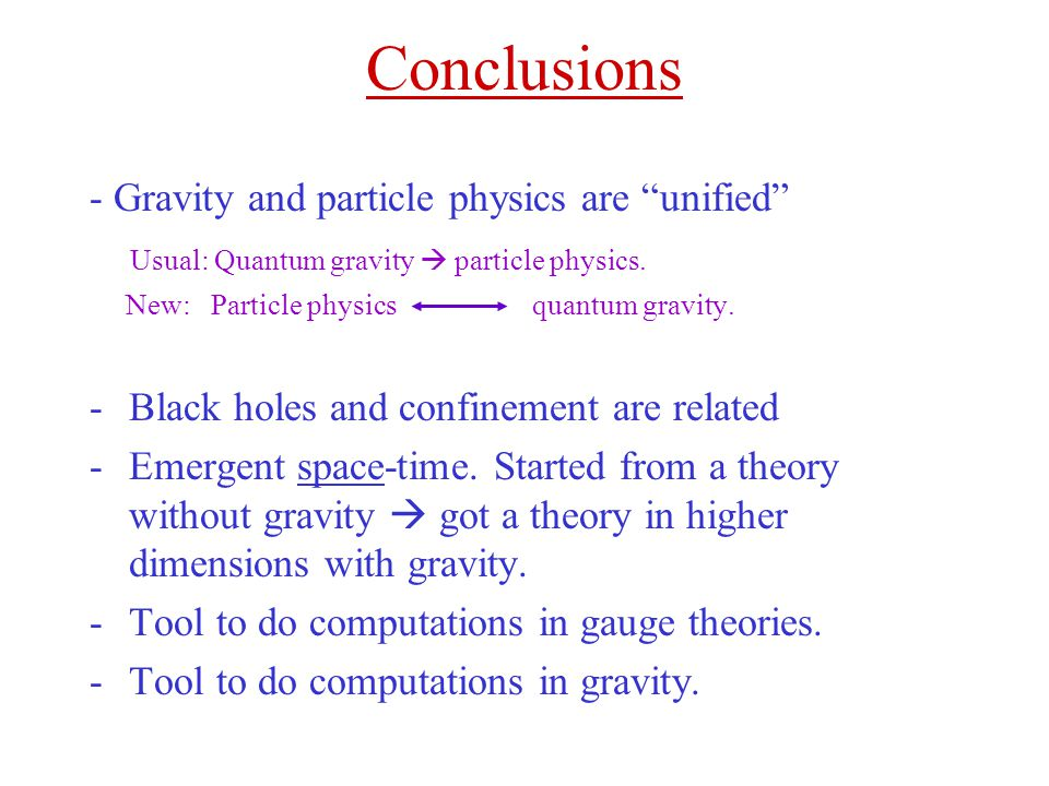 Conclusions - Gravity and particle physics are unified