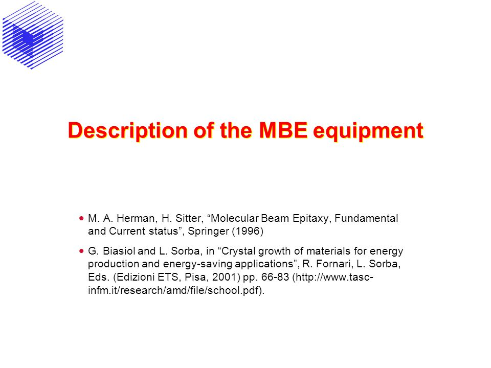 Description of the MBE equipment
