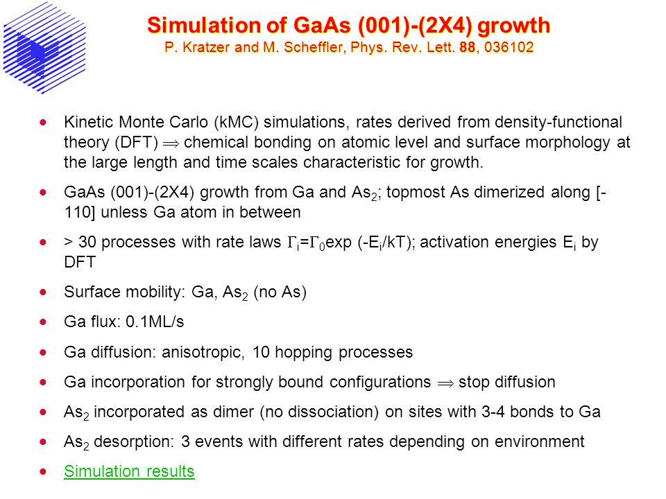 Simulation of GaAs (001)-(2X4) growth P. Kratzer and M. Scheffler, Phys. Rev. Lett. 88, 036102