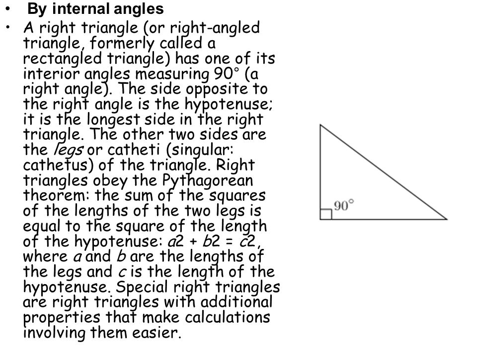 By internal angles