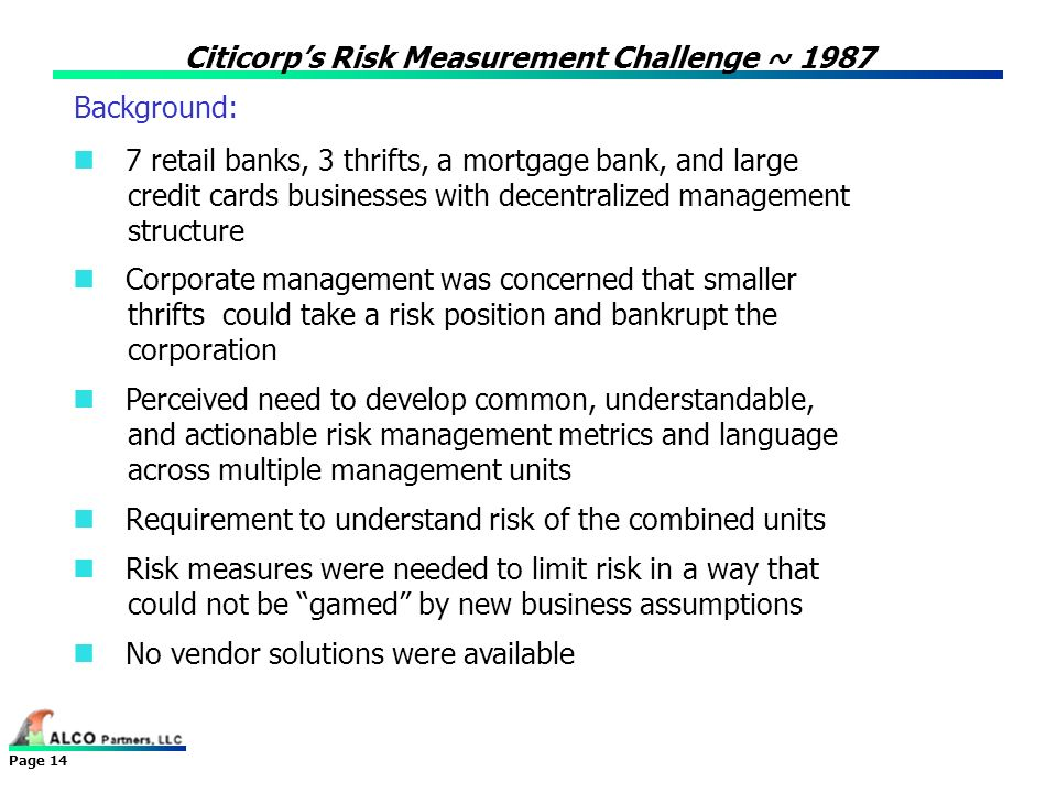 Citicorp's Risk Measurement Challenge ~ 1987