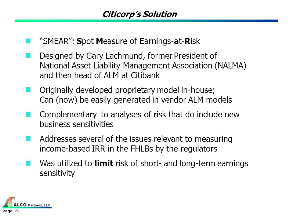 Citicorp's Solution SMEAR : Spot Measure of Earnings-at-Risk.