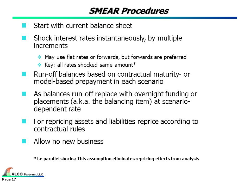 SMEAR Procedures Start with current balance sheet