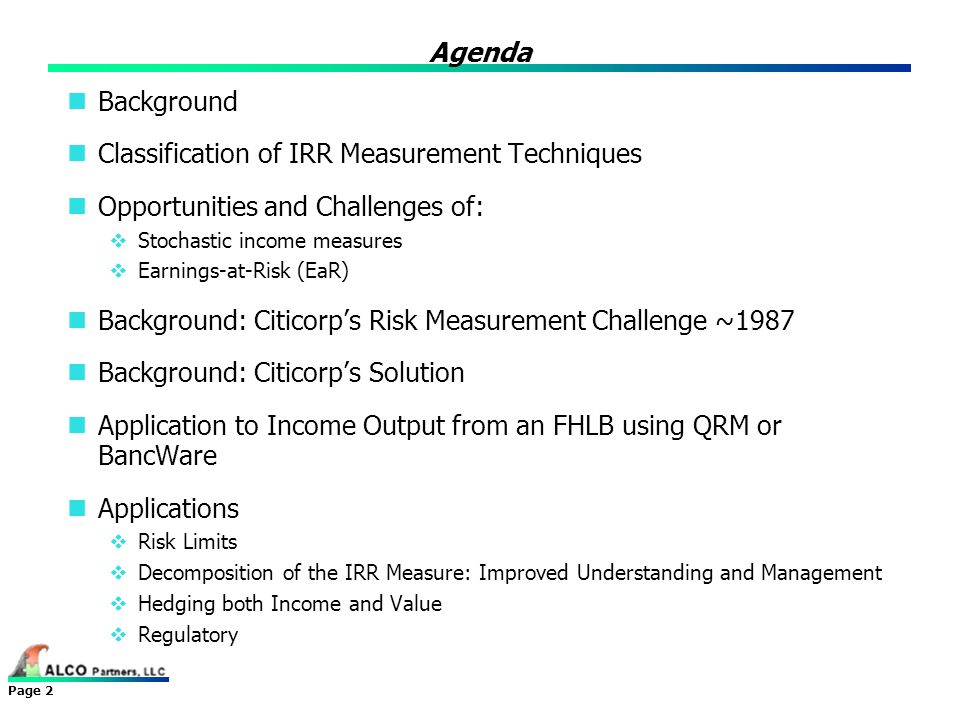 Classification of IRR Measurement Techniques