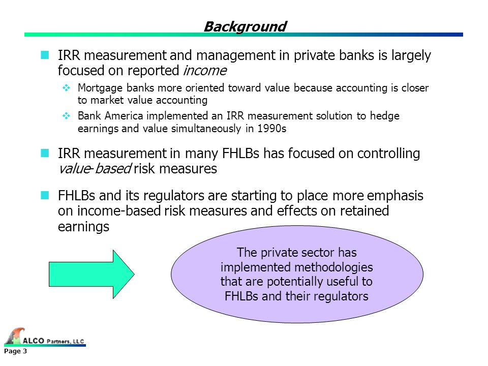 Background IRR measurement and management in private banks is largely focused on reported income.