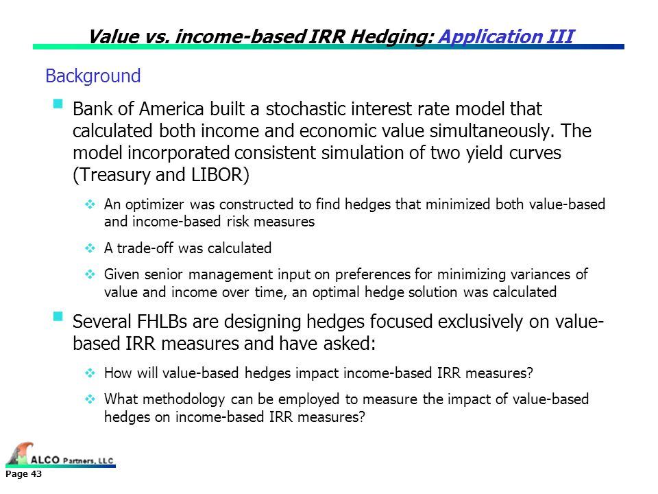 Value vs. income-based IRR Hedging: Application III