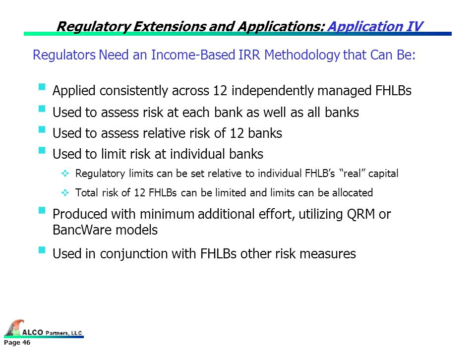 Regulatory Extensions and Applications: Application IV