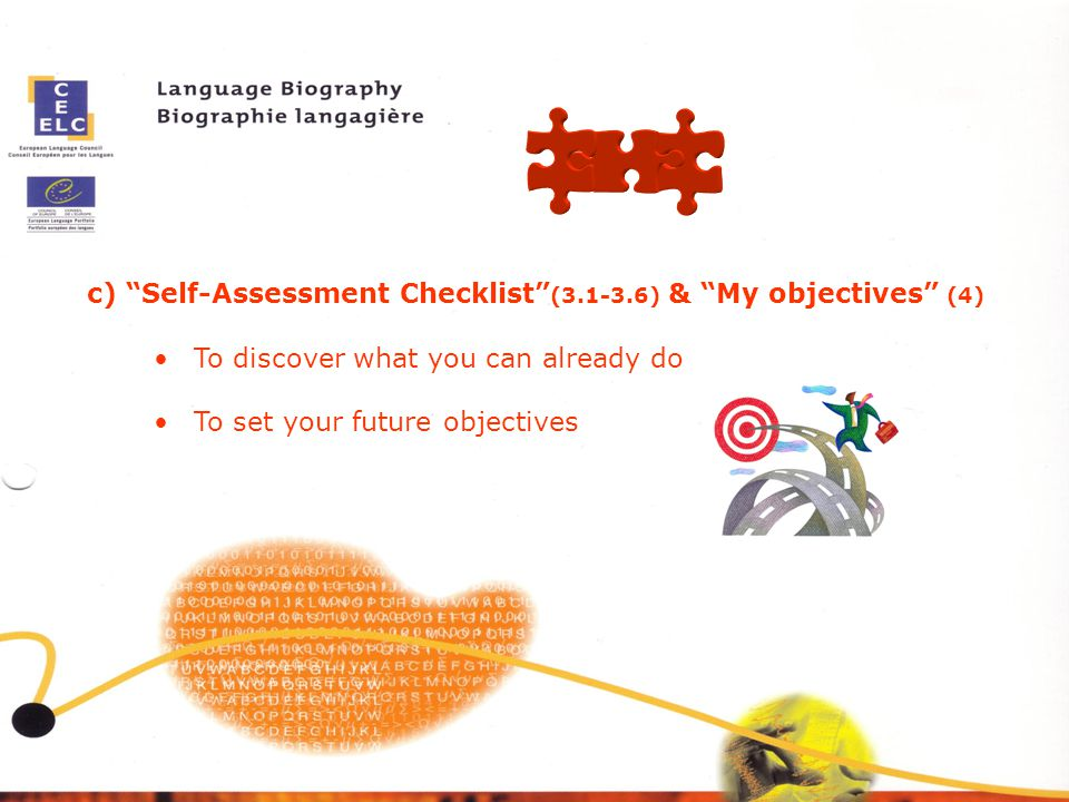 c) Self-Assessment Checklist (3.1-3.6) & My objectives (4)